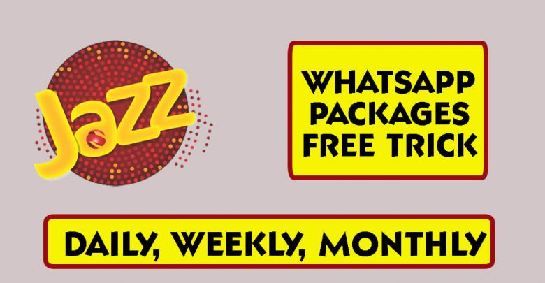 Jazz Whatsapp Packages Free Trick,Price Daily,Weekly,Monthly