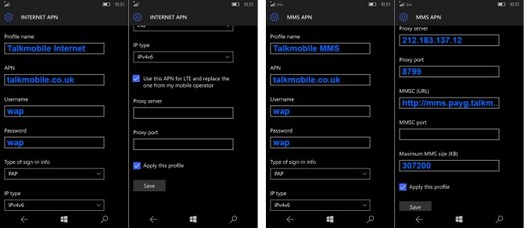 Talk Mobile APN Settings For Windows