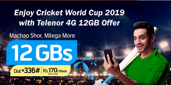 Enjoy Cricket World Cup 2019 with Telenor 4G 12GB Offer