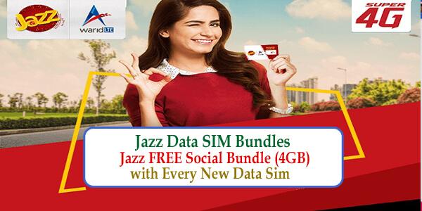 Jazz Data SIM Bundles –Jazz FREE Social Bundle (4GB) with Every New Data Sim
