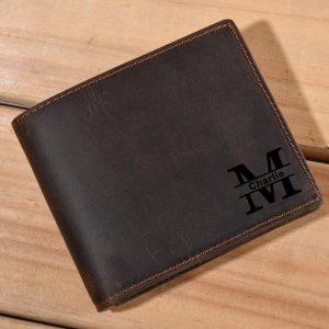 Monogrammed Genuine Leather Wallet