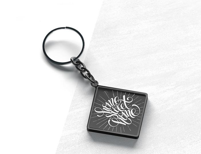 Square Keychain Mockup Design