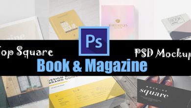 Top Square Book & Magazine PSD Mockups