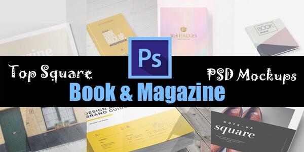 Top Square Book & Magazine PSD Mockups