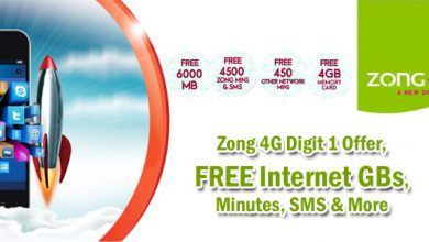 Zong Digit 1 Offer, Get FREE Internet GBs, Minutes, SMS & More