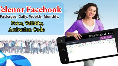 Telenor Facebook Packages, Daily, Weekly, Monthly, Price, Validity, Activation Code