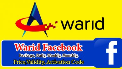 Warid Facebook Packages, Daily, Weekly, Monthly, Price, Validity, Activation Code
