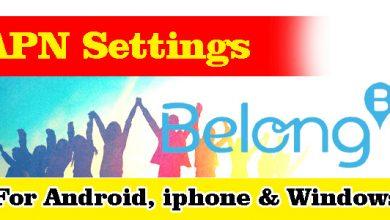 Belong Mobile APN Settings